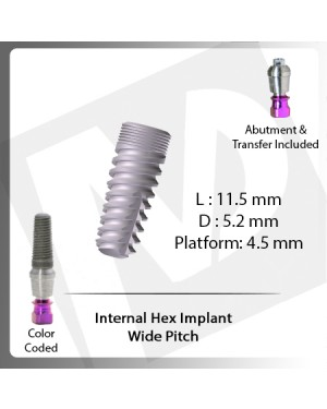 13 L X 4.2 D X 3.5 P Internal Hex Implant (Wide Pitch)