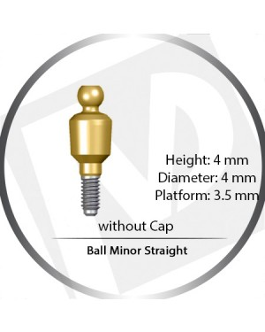 4mm x 4mm x 3.5 Platform Over Denture Ball Attachment Minor Straight – Set with Stainless Housing and Silicon Insert