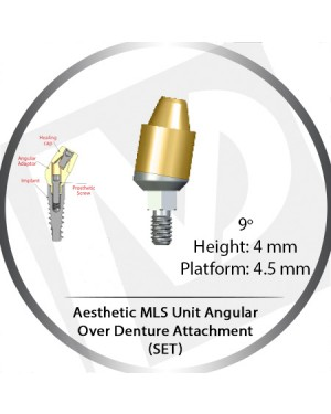 9° x 4mm x 4.5 Platform Angular MLS Unit Over Denture Attachment Set