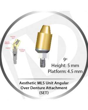 9° x 5mm x 4.5 Platform Angular MLS Unit Over Denture Attachment Set