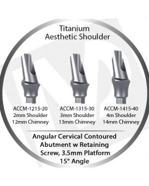 2 - 4 mm x 15° x 3.5 Platform Titanium Abutment, Cervical Contoured, Aesthetic Shoulder