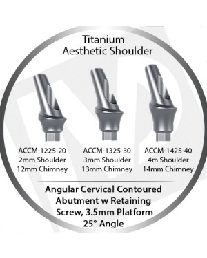 2 - 4 mm x 25° x 3.5 Platform Titanium Abutment, Cervical Contoured, Aesthetic Shoulder