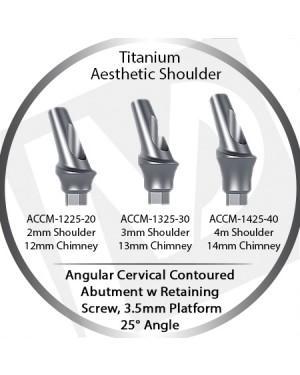 2 - 4 mm x 25° x 3.5 Platform Titanium Abutment, Cervical Contoured, Aesthetic Shoulder