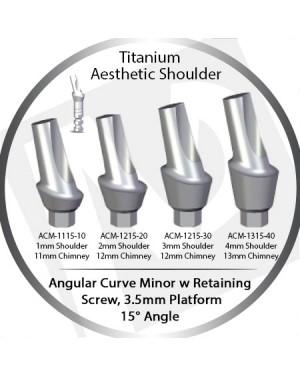 1 - 4 mm x 15° x 3.5 Platform Titanium Abutment, Angular Curve Minor, Aesthetic Shoulder