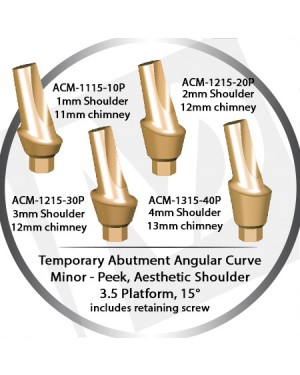 1 - 4 mm x 15° x 3.5 Platform Temporary Abutment Angular Curve Peek – Aesthetic Shoulder