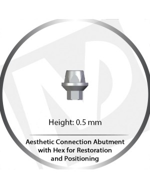 0.5mm Aesthetic Connection Abutment w HEX for Retention and Positioning