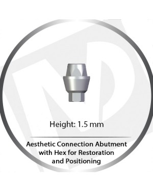 1.5mm Aesthetic Connection Abutment w HEX for Retention and Positioning