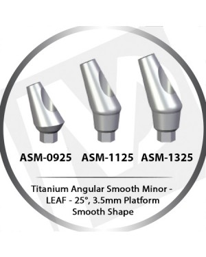 9 - 13 mm x 25° x 3.5 Platform Titanium Abutment, Angular Smooth Minor - Smooth Shape