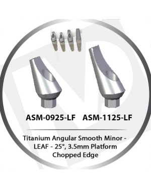 9 - 11 mm x 25° x 3.5 Platform Titanium Abutment, Angular Smooth Minor - Leaf, Chopped Edge