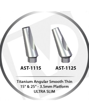 11 mm x 15° & 25° x 3.5 Platform Titanium Abutment Thin, Ultra Slim