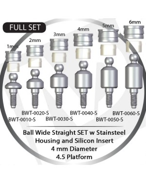 1 - 6 mm x 4mm x 4.5 Platform Over Denture Ball Attachment Wide Straight – Set with Stainless Housing and Silicon Insert
