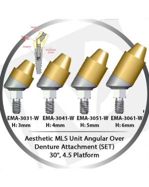 3 - 6 mm H x 30° x 5.5 Platform Angular MLS Unit Over Denture Attachment Set
