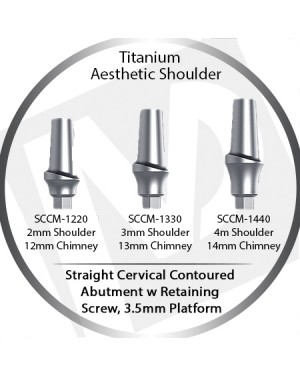 2 - 4 mm x 3.5 Platform Titanium Abutment, Cervical Contoured, Aesthetic Shoulder