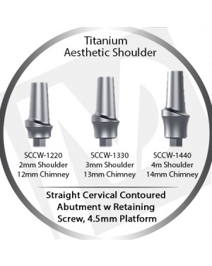 2 - 4 mm x 4.5 Platform Titanium Abutment, Cervical Contoured, Aesthetic Shoulder
