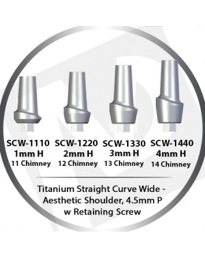 1-4mm x 4.5 Platform Titanium Abutment Straight Curve Wide  - Aesthetic Shoulder