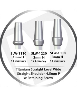 1 - 3mm x 4.5 Platform Titanium Abutment Straight Level Wide  - Straight Shoulder