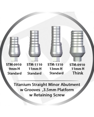 9 - 13 mm x 3.5 Platform Titanium Abutment Straight Minor  w Grooves