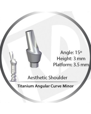 3mm x 15° x 3.5 Platform Titanium Abutment, Angular Curve Minor, Aesthetic Shoulder
