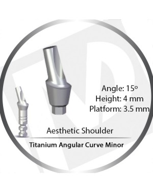 4mm x 15° x 3.5 Platform Titanium Abutment, Angular Curve Minor, Aesthetic Shoulder