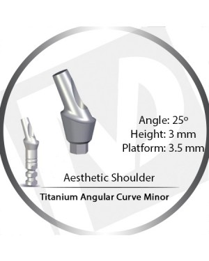 3mm x 25° x 3.5 Platform Titanium Abutment, Angular Curve Minor, Aesthetic Shoulder