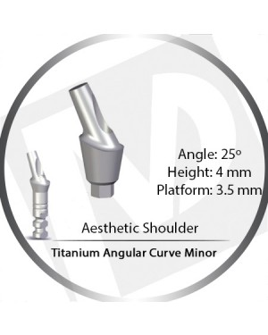 4mm x 25° x 3.5 Platform Titanium Abutment, Angular Curve Minor, Aesthetic Shoulder