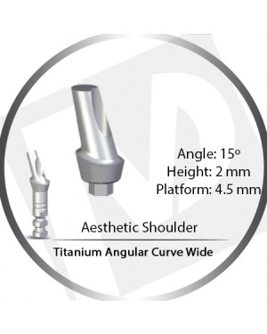 2mm x 15° x 4.5 Platform Titanium Abutment, Angular Curve Wide, Aesthetic Shoulder