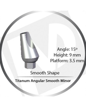 9mm x 15° x 3.5 Platform Titanium Abutment, Angular Smooth Minor - Smooth Shape