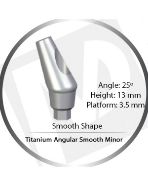 13mm x 25° x 3.5 Platform Titanium Abutment, Angular Smooth Minor - Smooth Shape