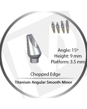 9mm x 15° x 3.5 Platform Titanium Abutment, Angular Smooth Minor - Leaf, Chopped Edge