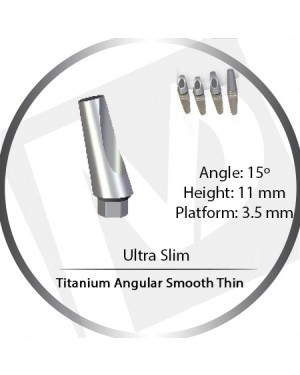 11mm x 15° x 3.5 Platform Titanium Abutment, Angular Smooth Thin - Ultra Slim