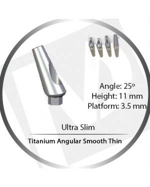 11mm x 25° x 3.5 Platform Titanium Abutment, Angular Smooth Thin - Ultra Slim