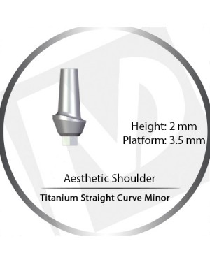 2mm x 3.5 Platform Titanium Abutment Straight Curve Minor  - Aesthetic Shoulder
