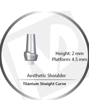 2mm x 4.5 Platform Titanium Abutment Straight Curve Wide - Aesthetic Shoulder