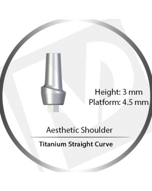 3mm x 4.5 Platform Titanium Abutment Straight Curve Wide - Aesthetic Shoulder