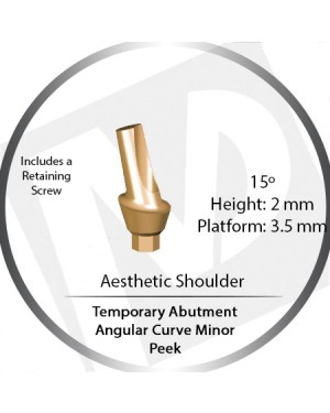2mm x 15° x 3.5 Platform Temporary Abutment Angular Curve Peek – Aesthetic Shoulder