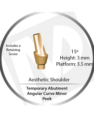 3mm x 15° x 3.5 Platform Temporary Abutment Angular Curve Peek – Aesthetic Shoulder