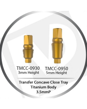 3 & 5mm X 3.5 Platform Concave Transfer Minor Close Tray  – Titanium Body